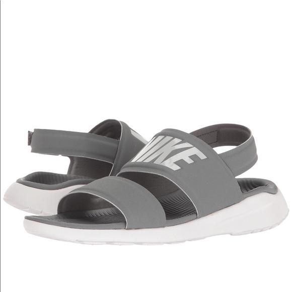 Cool Grey And White Nike Tanjun Sandals